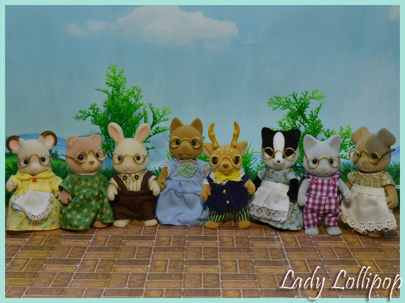 Assortment of Sylvanian Families figures with new hand made glasses