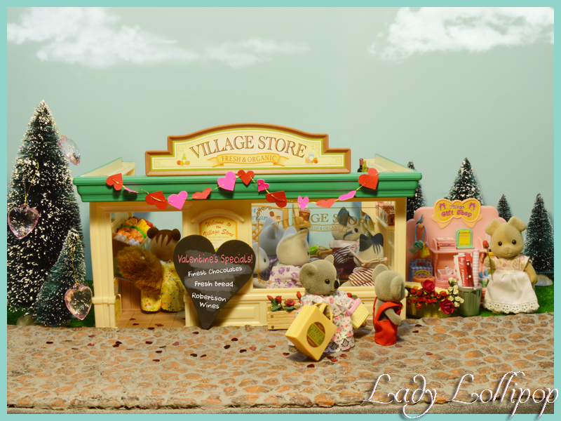 Sylvanian Families Valentines shopping to show off cobblestone roadway