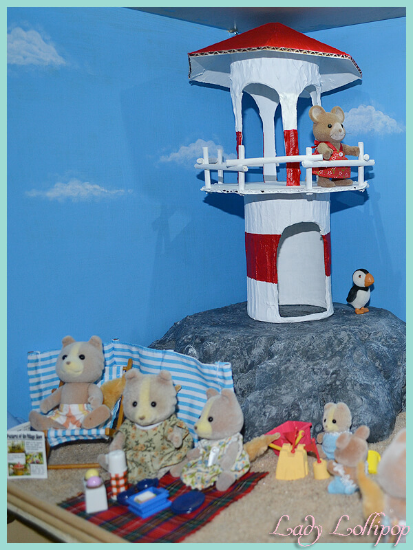 Beachfront diorama with diy lighthouse for Sylvanian families and calico critters