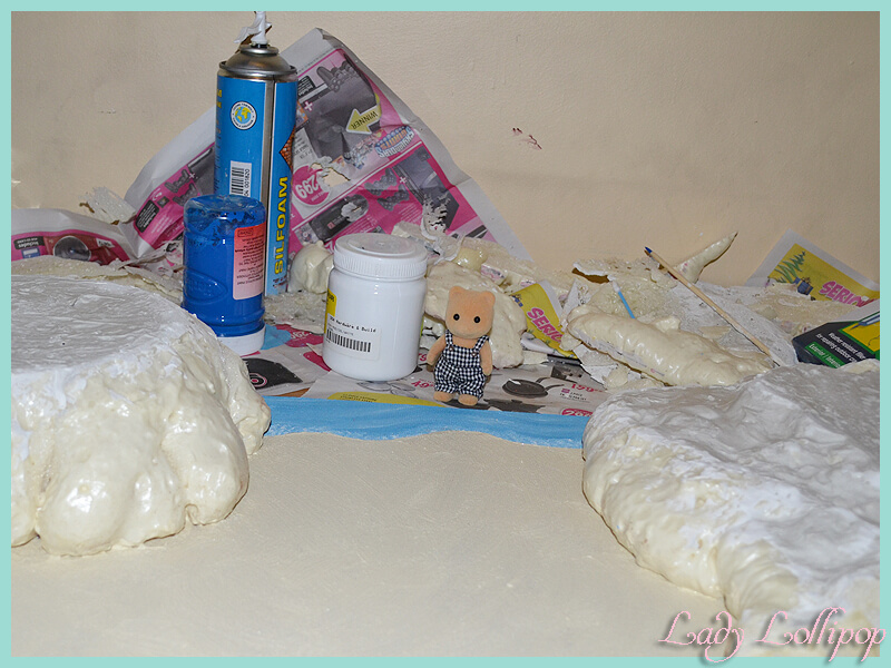 Sylvanian Families Beach Diorama progress in painting the ocean