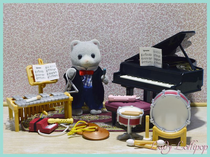 Uncle Henry Bearbury the Sylvanian Families school music teacher and his instruments